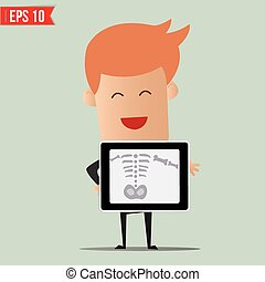 Business man showing scan X-ray report - Vector illustration...