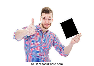 business man showing tablet pc with thumb up and blank screen isolated on white background