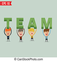 Business man showing Team 3d text - Vector illustration - EPS10
