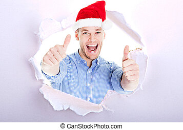 Business man showing thumb up, everything is OK in the winter. Corporate party, Christmas hat isolated portrait of a man on a white background, studio photo.
