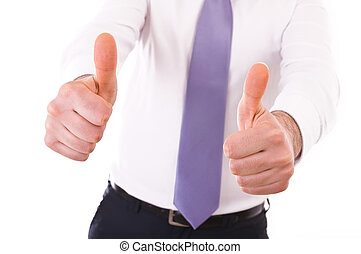 Business man showing Victory sign.
