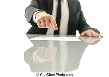 Business man showing where to sign a document