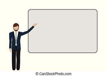 business man shows on a presentation board