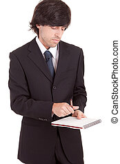 Business man signing document