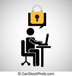 business man silhouette user laptop on desk protection