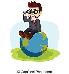 Business man sit on globe