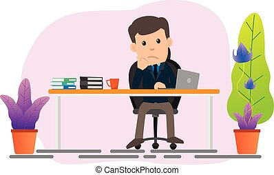 Business man sitting at his desk and boring with work. vector illustration flat style.