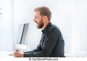 business man sitting at the office Desk