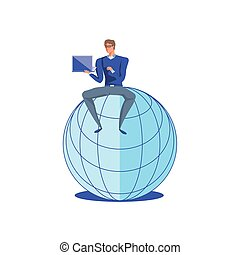 business man sitting in sphere browser with laptop