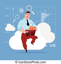 Business Man Sitting On Cloud Search Data In Database Storage