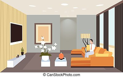 business man sitting on couch using laptop contemporary living room interior home modern apartment design flat horizontal