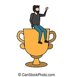 business man sitting trophy award