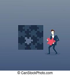 Business Man Solve Puzzle Solution Strategy Concept