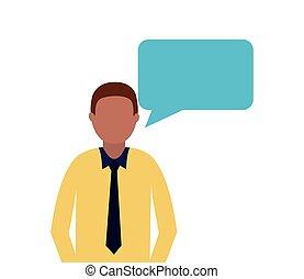 business man speech bubble talk