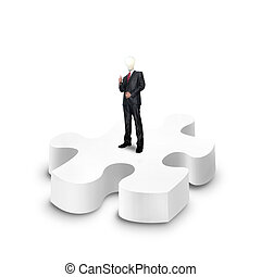 business man stand on a 3d puzzle over white background