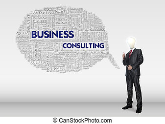 Business man stand with creative business idea concept