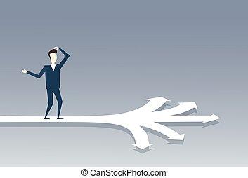 Business Man Standing On Crossroads Choose Direction Way Arrow