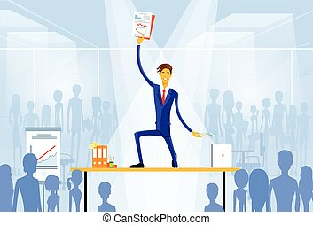 business man standing on desk with documents