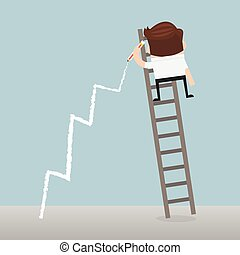 Business man standing on ladder drawing growth chart on wall.