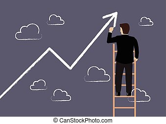 Business man standing on ladder drawing growth chart