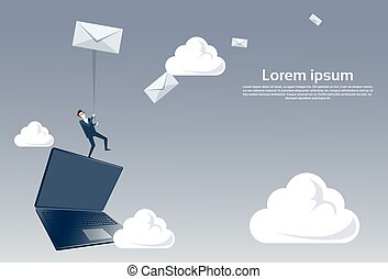Business Man Standing On Laptop Computer Holding Envelope Message Social Media Communication Email Concept