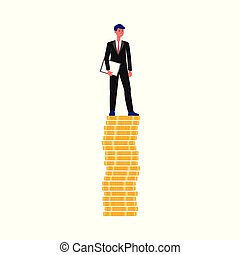 Business man standing on pile of money - male cartoon character in suit
