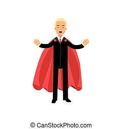 Business man standing with arms wide open. Male character in black office suit and red superhero cape. Concept of success and leadership. Flat vector design