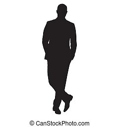 Business man standing with crossed legs, isolated vector silhouette. People at work