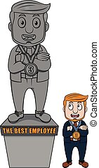 Business man statue award vector .e