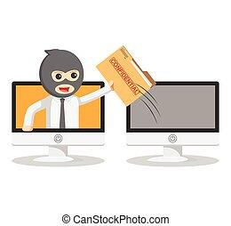 Business man stealing online secret