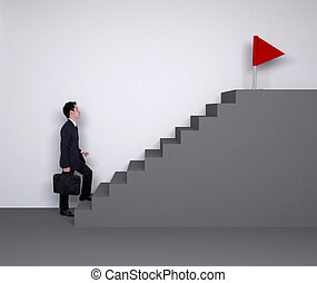 Business man stepping up on stairs to red flag (business ...