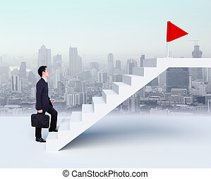 Business man stepping up on stairs to red flag with city background
