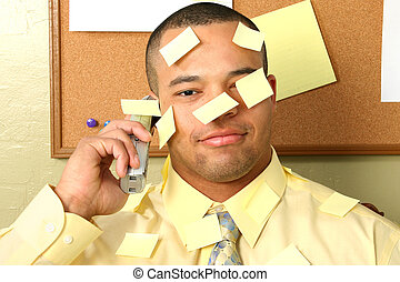 Business Man Stick On Notes - Handsome business covered in ...