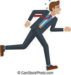 Business Man Stress Pressure Tired Running Concept - A...