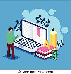 Business man student character standing and reading book by internet laptop pc computer. Online education library concept. Vector flat cartoon isolated illustration