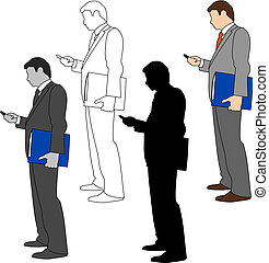 Set of business man illustrations in four different styles