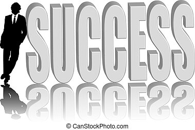 business man success - A business man leaning against a...