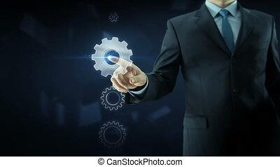 Business man success gear team work concept