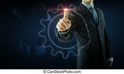 Business man success gear team work concept red