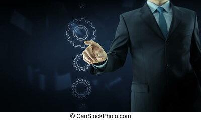 Business man success gear team work concept text