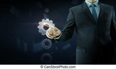 Business man success gear team work concept red text -...