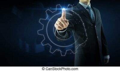 Business man success gear team work text concept