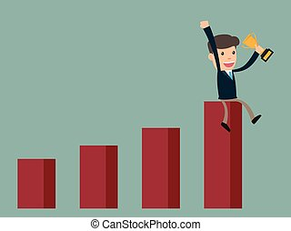 business man success sitting on growth graph with trophy. cartoon character vector illustration.