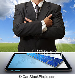 business man success with green business concept