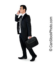 Business man talk phone