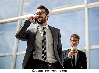 business man talking on mobile phone