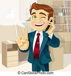 Business man talking on the phone - Business man in office ...