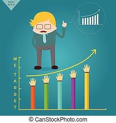 Business man Target business planning  graph