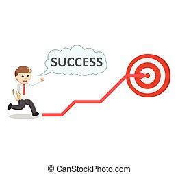 Business man target success