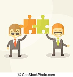 business man  team work, Vector Illustration